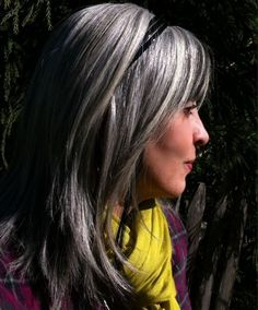 Shiny gray hair