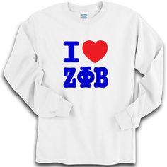 I Love Zeta Phi Beta Sorority Printed Longsleeve $19.95