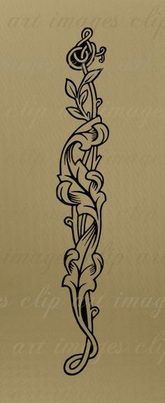 Leafy Vine Frame Clip Art & bonus Leafy Vine Element, royalty free/CU, design element, vintage clip art, digital download graphics