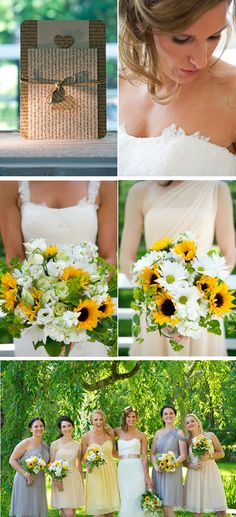 sunflower wedding  I like the bridal party