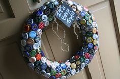 "Beer cap wreath -- Great for Father's Day or for your ""Beer Garden"""