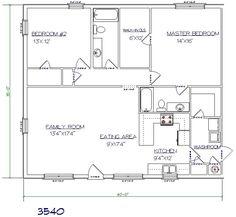 WDMB - FloorPlans 3540C. 2 bed/2bath 35'x40'.  1400 sq ft.