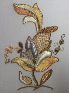 beautiful trapunto and goldwork embroidery