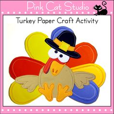 Free Thanksgiving Turkey paper craft and coloring page. By Pink Cat Studio