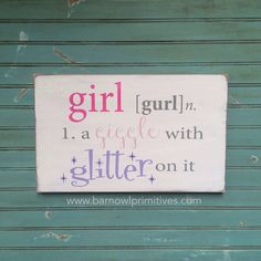 Nursery Wall Art  Girl  A Giggle with Glitter by barnowlprimitives, $75.00
