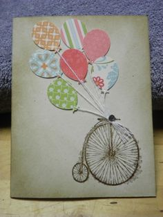 Stampin Up - Vintage Card.  Bike with balloons!