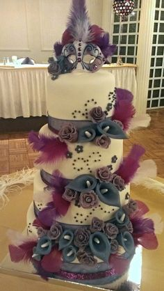Sweet 16 Masquerade Themed Cake - by SugarBabyCakes @ CakesDecor.com - cake decorating website