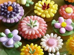 Spring cupcakes using jelly beans and spring themed candy corn.