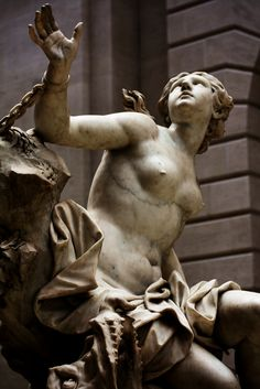 """Sculpture """"Andromeda and the Sea Monster"""" by Domenico Guidi, 1694, housed in the Metropolitan Museum of Art in New York, N.Y."""