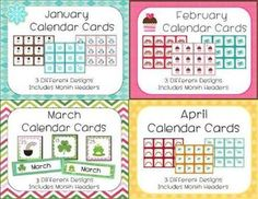 Calendar sets for the entire year - 37 different designs!