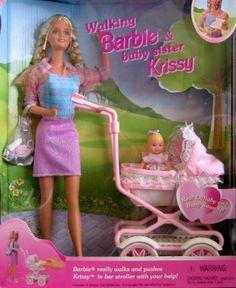 Walking Barbie & New Baby Sister Krissy