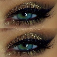 gold eye shadow and cat eye liner