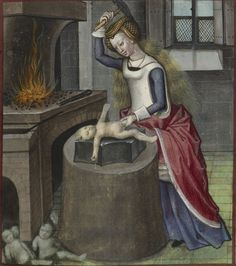 'Nature forging a baby'. Guillaume de Lorris and Jean de Meun, Roman de la Rose. Bruges, c.1490-c.1500.  British Library.  (Are those the finished babies on the ground, the rejects, or the templates?)