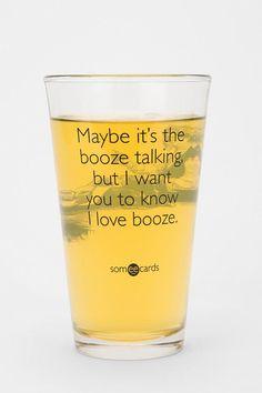 Booze Talking Pint Glass