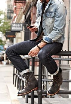 Shop this look for $158: http://lookastic.com/men/looks/blue-denim-jacket-and-black-jeans-and-brown-leather-boots/424 — Blue Denim Jacket — Black Jeans — Brown Leather Boots denim style, men style, fashion blogs, double denim, street styles, jean jackets, men fashion, men's clothing, combat boots