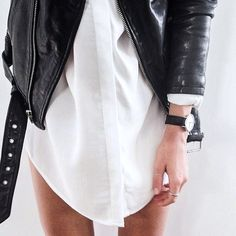 Black Moto Jacket & White Shirt Dress