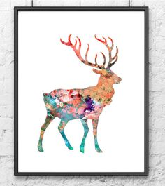 Watercolor Painting Deer Art Watercolor art print por Thenobleowl