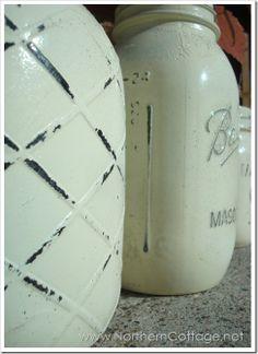 Painted & Distressed Mason Jars @ NorthernCottage.net