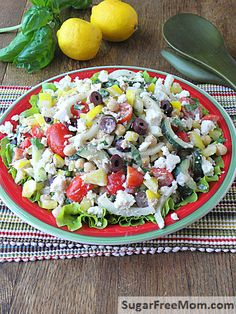 Mediterranean Tuna Chickpea Salad with Lemon Tahini Dressing | sugarfreemom.com