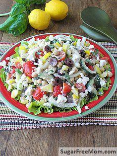 Mediterranean Tuna Chickpea Salad with Lemon Tahini Dressing | sugarfreemom.com