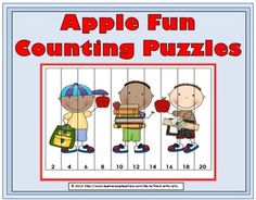 Apple Fun Counting Puzzles
