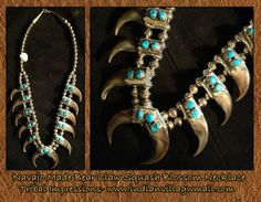 Navajo Made Bear Claw Squash Blossom Necklace With Sleeping Beauty Turquoise Stones -review the Bear Claw Collection off of: http://www.indianvillagemall.com/jewelry/navajobearlcawjewelry.html