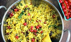 Chitranna is a South Indian lemon peanut rice and tart currants add a burst of tartness. With plain yogurt, this a magical summer picnic food.
