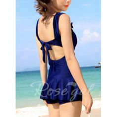 Solid Color Skirt Hem Bow Tie Embellished Casual Strap One Piece Women's Swimwear