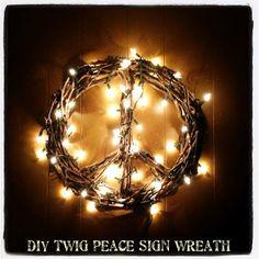 DIY Twig & Tree Branch Peace Sign Wreath