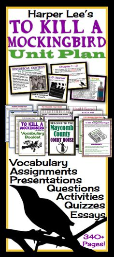 To Kill A Mockingbird by Harper Lee Complete Unit Plan: Presentations, Quizzes, Activities, & More!