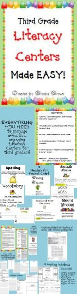 Third Grade Literacy Centers Made EASY! Also available in formats for Kindergarten, 1st, 2nd, and 4th grades