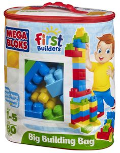 Need a birthday gift for a busy 2 year old toddler?  Mega Bloks First Builders Big Building Bag - Classic (8327) at Toys R Us.