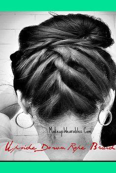 ROPE Upside Down Braided Bun | Upside Down Braided Sock Bun Hair Tutorial for Medium Long Hair | Tina - MakeupWearables L.'s (makeupwearables) Photo | Beautylish