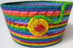 Rainbow Coiled Rope Basket Mother's Day Planter by SallyManke