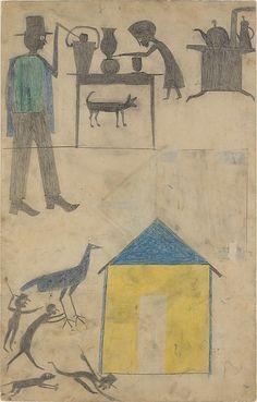 Kitchen Scene, Yellow House, (1854-1947). c. 1939-42 bill traylor