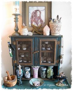 Need this.  Faery Herb Cabinet by an AlTeReD FaIrY TaLe, via Flickr