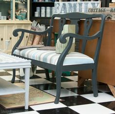 Salvaged Inspirations |  A sweet Annie Sloan Chalk Painted bench at The Painted Bench.