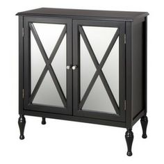 Hollywood Mirrored Accent Cabinet, I would change out the legs to something a bit more sturdy, but at this price it will give you the look for less $$