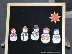 5 little snowmen finger play - would work nicely with a flannel board or glove puppet