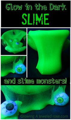This Glow in the Dark Slime is so easy to make and SO FUN!  My little ones especially  loved making slime monsters with it!