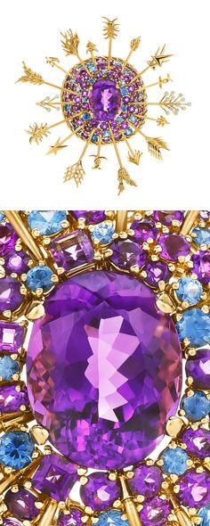 Tiffany & Co. Schlumberger® Arrows clip in 18k gold with a 20.06-carat amethyst, Montana sapphires and round brilliant diamonds. #TiffanyPinterest #TiffanyBlueBook