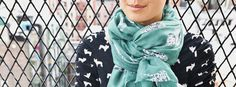 Turquoise/teal Dalmatian-print scarf... $14