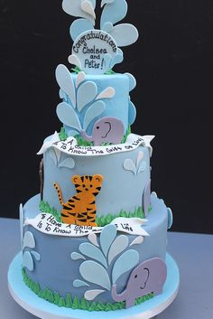 Safari baby boy cake babi anim, shower cake, animal cakes, christening cakes, baby boy cakes, animal prints, baby animals, anim cake, kid birthday cakes animals