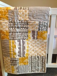Contemporary Cot Quilt (Citrus and Grey)