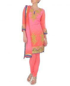 Ombre Carnation Pink and Neon Orange Suit