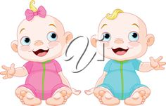iCLIPART - A cute baby girl and baby boy smiling