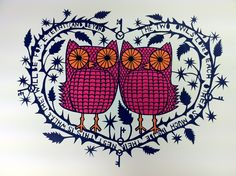 'The Two Owls' print from a paper cut.