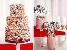 FUN dessert tables, idea, birthday parties, sprinkles, weddings, candi, wedding cakes, kid parti, birthday cakes