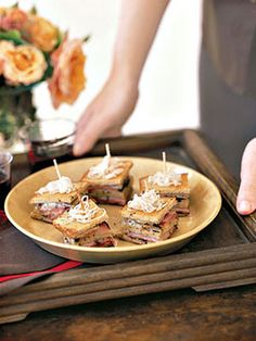 Mini Triple-Decker Pastrami Reuben Sandwiches
