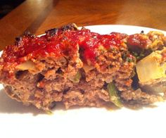 Hearty meatloaf with a nut-free base, classic savory flavors and the perfect sauce to top it off.  http://stalkerville.net/ #paleo